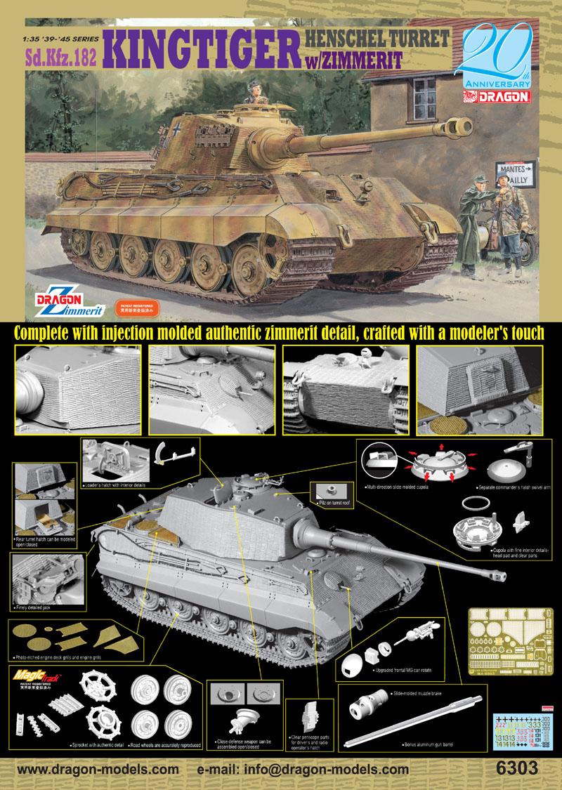 DRAGON 6840 1//72 Kingtiger Henschel w//Zimmerit+MagicTrack+Metal Barrel+Armor PE